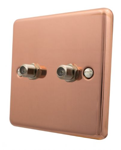 G&H CBC237 Standard Plate Bright Copper 2 Gang Satellite Socket Point
